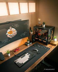 Computer Desk Setup, Gaming Room Setup, Pc Desk, Pc Setup, Home Studio Setup, Home Office Setup, Home Office Design, Bedroom Setup, Room Design Bedroom