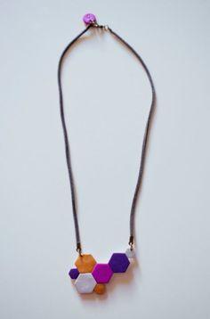 Geometric necklace -  polymer clay