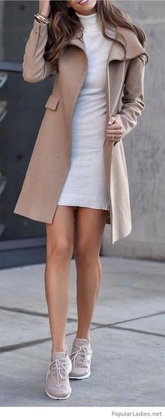 White dress, nude coat and shoes