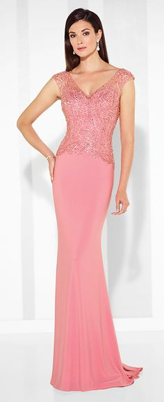 Jersey fit and flare gown with hand-beaded illusion slight cap sleeves, front and back V-necklines, beaded sweetheart bodice. Matching shawl included. Sizes: 4 – 20 Color: Peacock