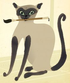 Siamese Cat Painter, by Hugo Horita. Crazy Cat Lady, Crazy Cats, I Love Cats, Cool Cats, Siamese Cats, Cats And Kittens, Illustrations, Graphic Illustration, Frida Art