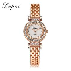 2017 Lvpai Brand Fashion Bracelet Watch Women Gold Luxury Crystal Alloy WristWatches Ladies Casual Business Watch Quartz Clock