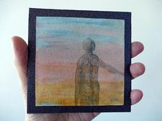 Dream. Miniature original, oil painting. Human figure, blue, pink, yellow background. Small picture. 4x4 inch. mini  colorful, fantasy art.