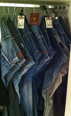 THESE TIPS ARE AMAZING. Use shower hooks to hang jeans. Saw this recently at a store--genius! 53 Seriously Life-Changing Clothing Organization Tips