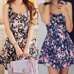 Women's Vintage Floral Print Sleeveless Casual Party Evening Cocktail Mini Dress