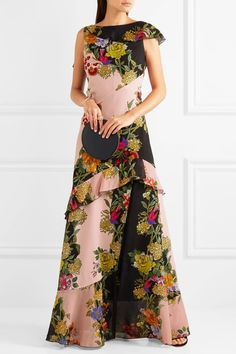Etro - Ruffled Floral-print Crepe And Silk-chiffon Maxi Dress - Pink - IT48