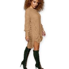 Sweater Dress Tan knitted sweater dress, very comfortable and could wear anytime of the day, super cute ! Any questions please feel free to ask  Dresses