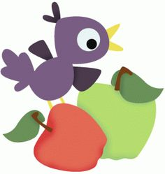 Silhouette Design Store - View Design #66043: crow on apples