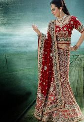 Rich Maroon Pure Georgette Lehenga Choli with Dupatta