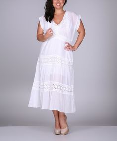 Look at this White Lace V-Neck Dress