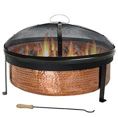 Sunnydaze Hammered 100 Copper Wood Burning Fire Pit with Spark Screen 30 Inch Diameter | Best Prices