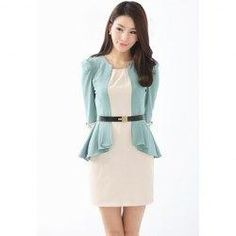 trendsgal.com - Trendsgal Solid Color Splicing Dress - AdoreWe.com