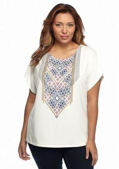 Ruby Rd  Plus Size Bali Hai Bead Print Knit Top