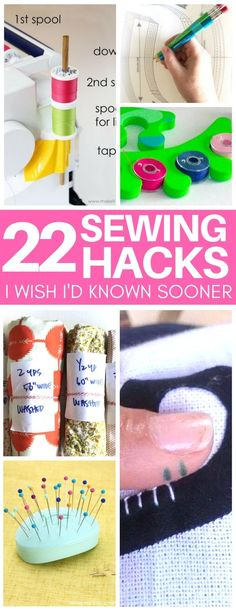 These sewing hacks are genius! Ideas for organizing sewing room supplies, sewing tutorials on cleaning your machine and more! I am obsessed with the clever idea for bobbin storage using pedicure foam separators!