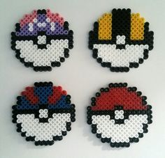 Hama beads. Pokeballs