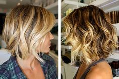 Makeup Ideas: Square Curly Wavy Curly Curly Bob Haircut Trend - New Hair Styles Bob Haircut Curly, Curly Bob Hairstyles, Wavy Hair, Blonde Hair, Balayage Blond, Short Blonde, Medium Hair Styles, Curly Hair Styles, Wavy Bobs