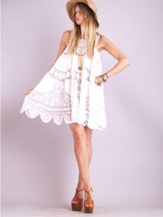 vintage style white crochet trapeze dress...in my closet :)
