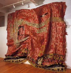 Brahim EL ANATSUI recycled metal sculpture.  Nelson Atkins has a beautiful piece by El Anatsui  It's fascinating.