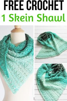 This crochet blanket pattern features a unique stitch and a gorgeous pom pom bor. This crochet blanket pattern features a unique stitch and a gorgeous pom pom border. The easy step One Skein Crochet, Easy Crochet Blanket, Crochet Scarves, Crochet Shawl Free, Shawl Patterns, Knitting Patterns, Knitting Projects, Crochet Projects, Triangle En Crochet