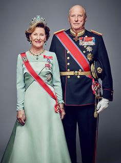 In this handout photo provided by the Royal Court King Harald V of Norway and Queen Sonja of Norway pose for an official photograph from the Royal...