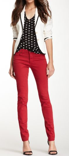 Monochrome + Red. Love the tailored jacket, polka dots and the nice red color of the jeans.
