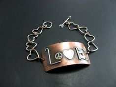LOVE Bracelet Copper Sterling Silver Handmade Love by BooBeads