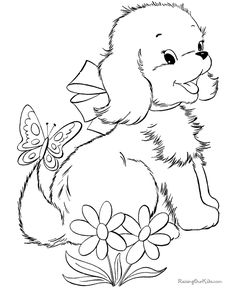 printable Cute Puppy Coloring Pages | Dog and Puppy Coloring Page