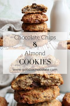 These lusciously chocolately cookies are basically the perfect guilt free treat that you can have at any time of the day! Recipe by Elisa Rossi. Healthy Treats, Healthy Desserts, Ground Almonds, Almond Cookies, Guilt Free, Almond Butter, Vegan Recipes, Chips, Banana