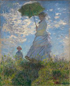 """9º Impresionismo. Claude Monet  """"Mujer con sombrilla. Madame Monet con su hijo"""" 1875, óleo sobre lienzo, 100 x 81 cm, National Gallery of Art, Washington. Es una postura independiente, los temas principales son el paisaje y urbano, se capta lo fugaz, con efectos atmosféricos de agua y luz, se eliminan los colores tierras."""