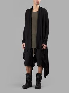 RICK OWENS Rick Owens Men'S Black Long Wrap Cardigan. #rickowens #cloth #knitwear