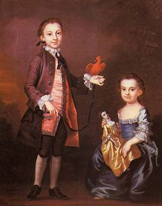 John Wollaston, portrait of Mann Page and his sister  Elizabeth Page with a doll, ca. 1757- Virginia Historical Society, Richmond Virginia.