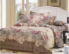 Lenjerie de pat bumbac satinat Pucioasa cu model floral si animal print