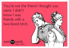 You're not the friend I thought you were. I didn't know I was friends with a two-faced bitch.