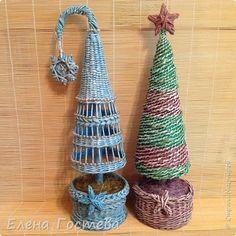 Бонсай топиарий ёлка Новый год Плетение Мое любимое плетение Бумага газетная фото 1
