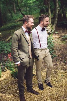 Brown Tweed Suit Groom Bow Tie Hand Crafted Vintage Woodland Wedding http://www.jennawoodward.com/