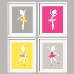Ballerina Ballet Girl Art Print Set of 4 Prints 8x10 in hot pink, yellow and gray by YassisPlace