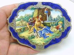 Estate-Scenic-Romantic-Couple-Sheep-Waterfall-Enamel-800-Silver-Compact-Italy