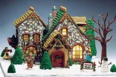 """Pepperkakehus - built by Jeff Shultz of Bellefonte, PA, features standout """"stonework"""" made of slivered almonds. Gingerbread House Pictures, Easy Gingerbread House, Gingerbread House Designs, Gingerbread Village, Gingerbread Decorations, Gingerbread Cookies, Christmas Baking, Christmas Fun, Christmas Houses"""