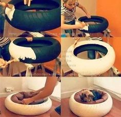 Recycle a small car tire...paint and add a dog bed...warm and cozy for any pet.?