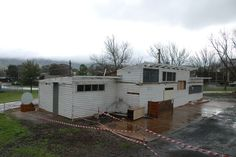 The old Rowen Park change rooms in the process of being demolished to make way for the new Tallangatta Sports Centre (August 2013).