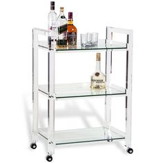 "Pennington Modern Acrylic and Glass Serving Bar Cart | Kathy Kuo Home, 37""h x 26""w x 16""d"
