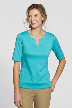 my kinda neckline- Women's Half Sleeve Splitneck Top from Lands' End $30