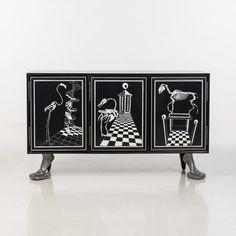 Vincent Darré  - Chess  - Buffet  - Bois vernis et fonte d'aluminium  - Edition [...], Vincent Darré, Extravagance Dadaïste à Piasa