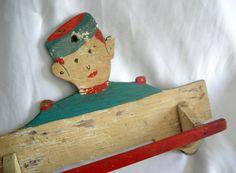 Wooden Towel Rack | Shabby Chic | Bellhop Motif | Vintage Mid Century