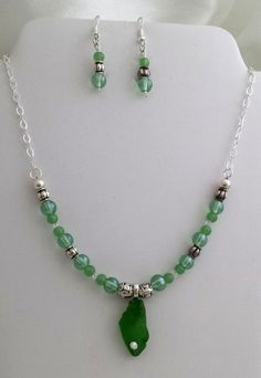 Sea Glass Necklace and Earring Set - Jewelry creation by K. Lynn Designs