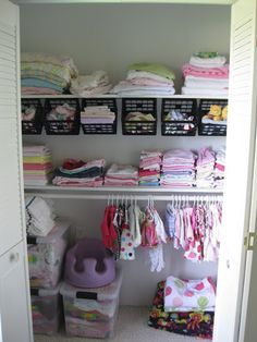 With a well-placed rod and a few S-hooks, you can hang mini bins at an angle in your kids' closet. Now storing and sorting is literally just a toss away. See more at Sawdust & Embryos »  - GoodHousekeeping.com