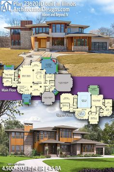 Architectural Designs Modern Prairie House Plan 23620JD client-built in Illinois | 4 BR | 4.5 BA | 4,500+ sq. ft.| Ready when you are. Where do YOU want to build? #23620JD #adhouseplans #architecturaldesigns #houseplan #architecture #newhome #newconstruction #newhouse #homedesign #dreamhome #dreamhouse #homeplan #architecture #architect #housegoals #client-built #client #home #house #moderndesign #franklloydwright #franklloyd #franklwright #prairiestyle #prairiehome #prairiedesign…