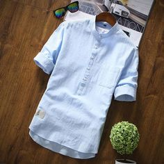 c7cd2c02326e LEFT ROM 2018 Hot style fashionable men short-sleeved cotton shirt Young  men s wear