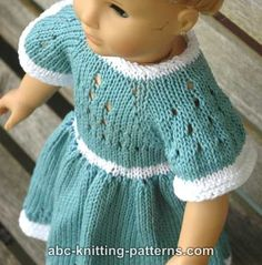 ABC Knitting Patterns - American Girl Doll Eyelet Dress