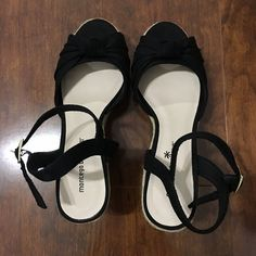 NEVER WORN Black goes with everything. 3 1/2 inches tall. Never got a chance to wear them.. forgot I had them under my bed  Never worn, no damage. Montego Bay Club Shoes Sandals